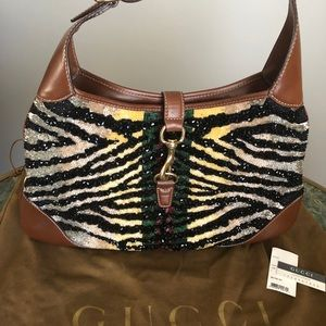 Gucci beaded/brown leather/ivory suede dressy bag